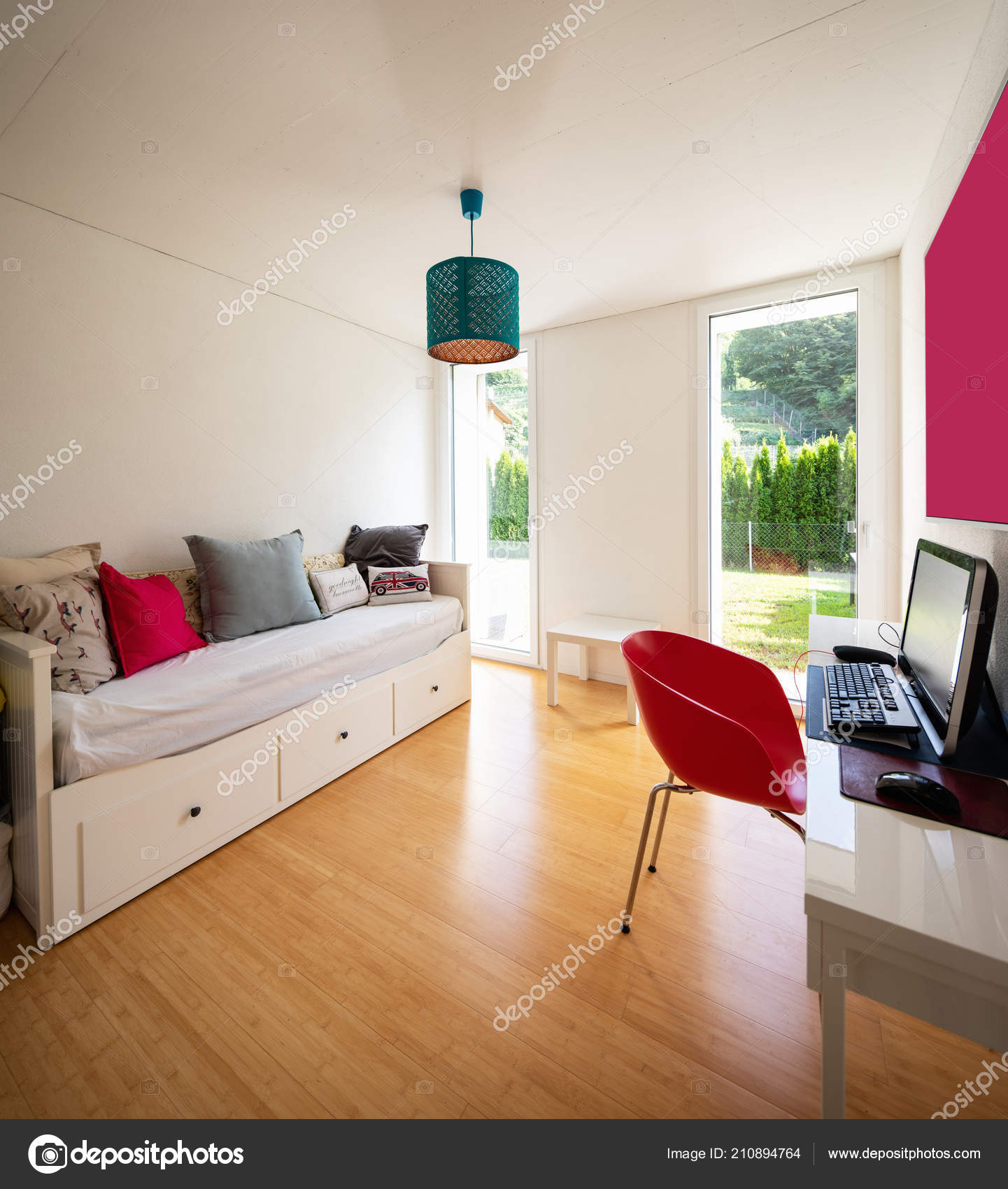 Brilliant Elegant Study Desk Sofa Bed Windows Overlooking Garden Pabps2019 Chair Design Images Pabps2019Com