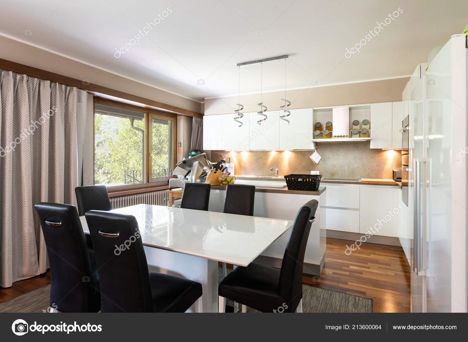 Large Kitchen Leather Table Chairs Nobody — Stock Photo ...