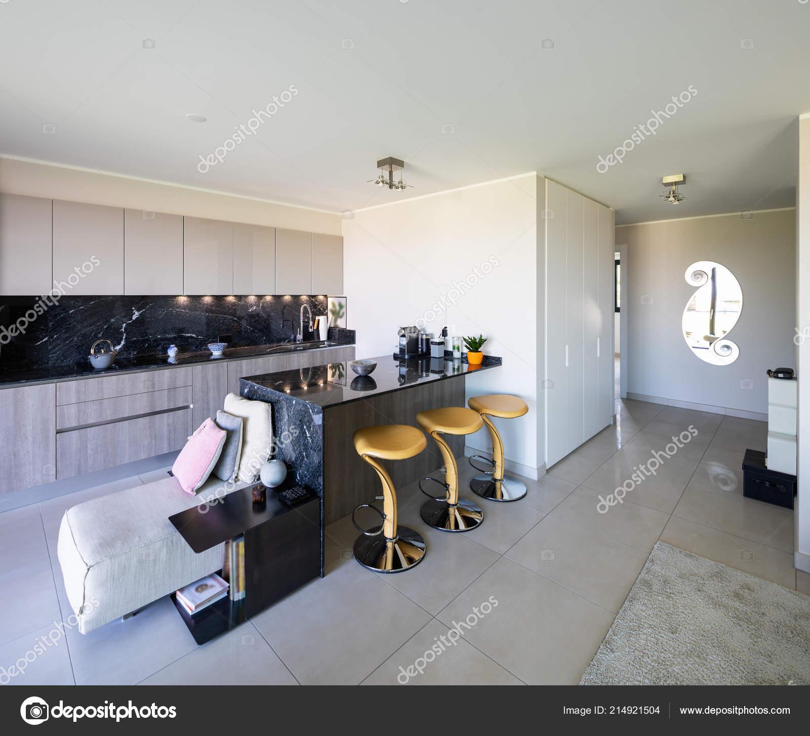 Wohnzimmer Und Küche Offenen Raum Und Moderne Wohnung Niemand