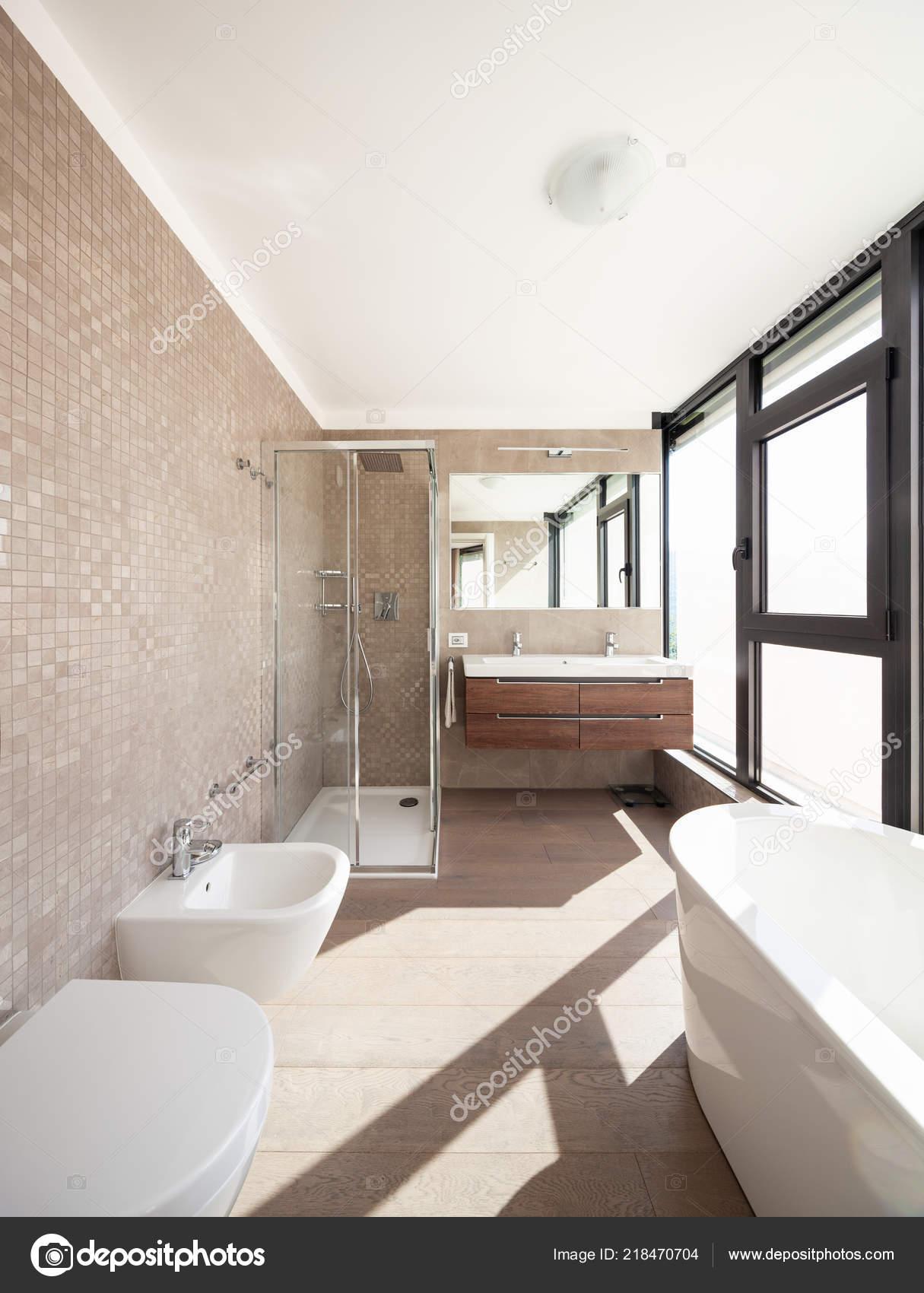 . Modern Wooden Bathroom Large Windows Nobody   Stock Photo   Zveiger