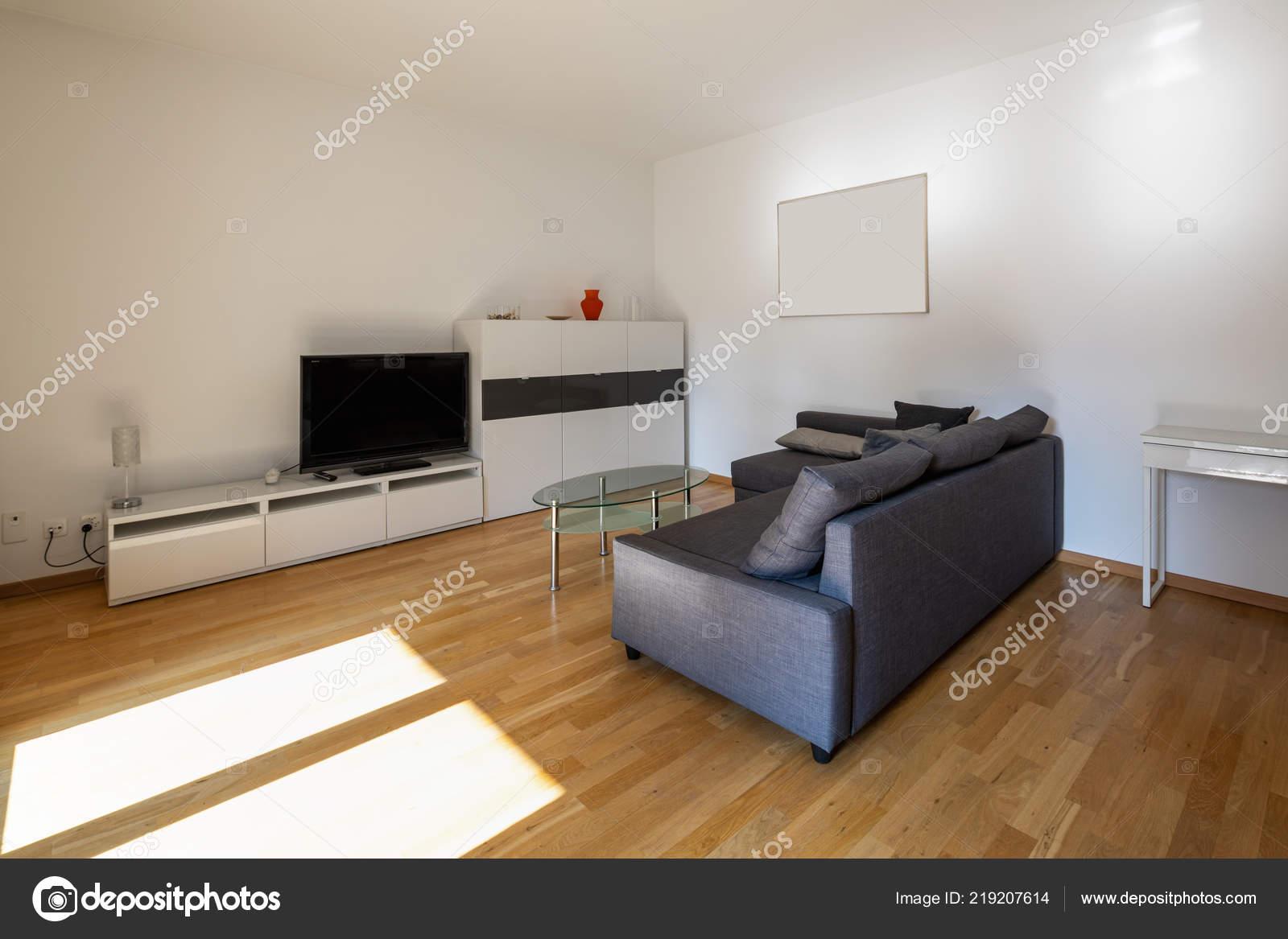 Charmant Salon Moderne Avec Parquet Canapé Sombre Personne Intérieur U2014 Photo