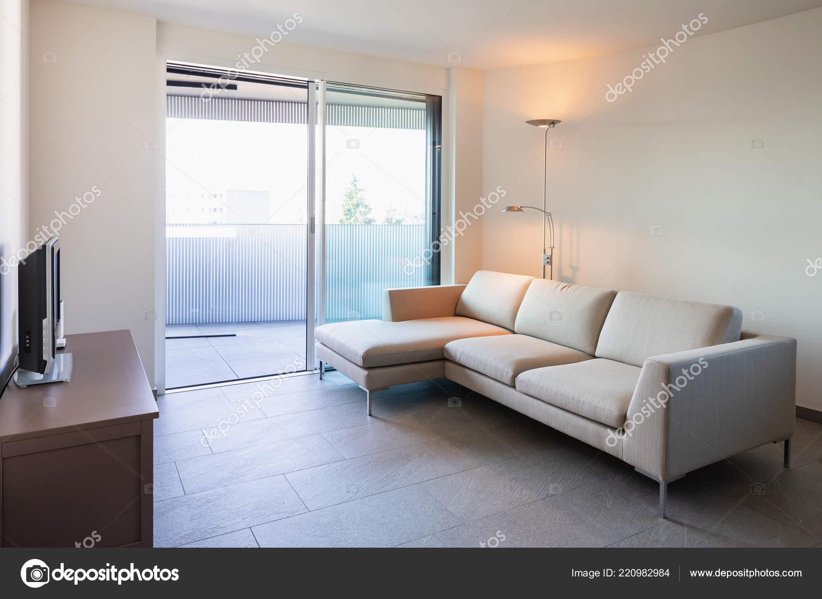 Living Modern Apartment Design Sofa Nobody — Stock Photo ...
