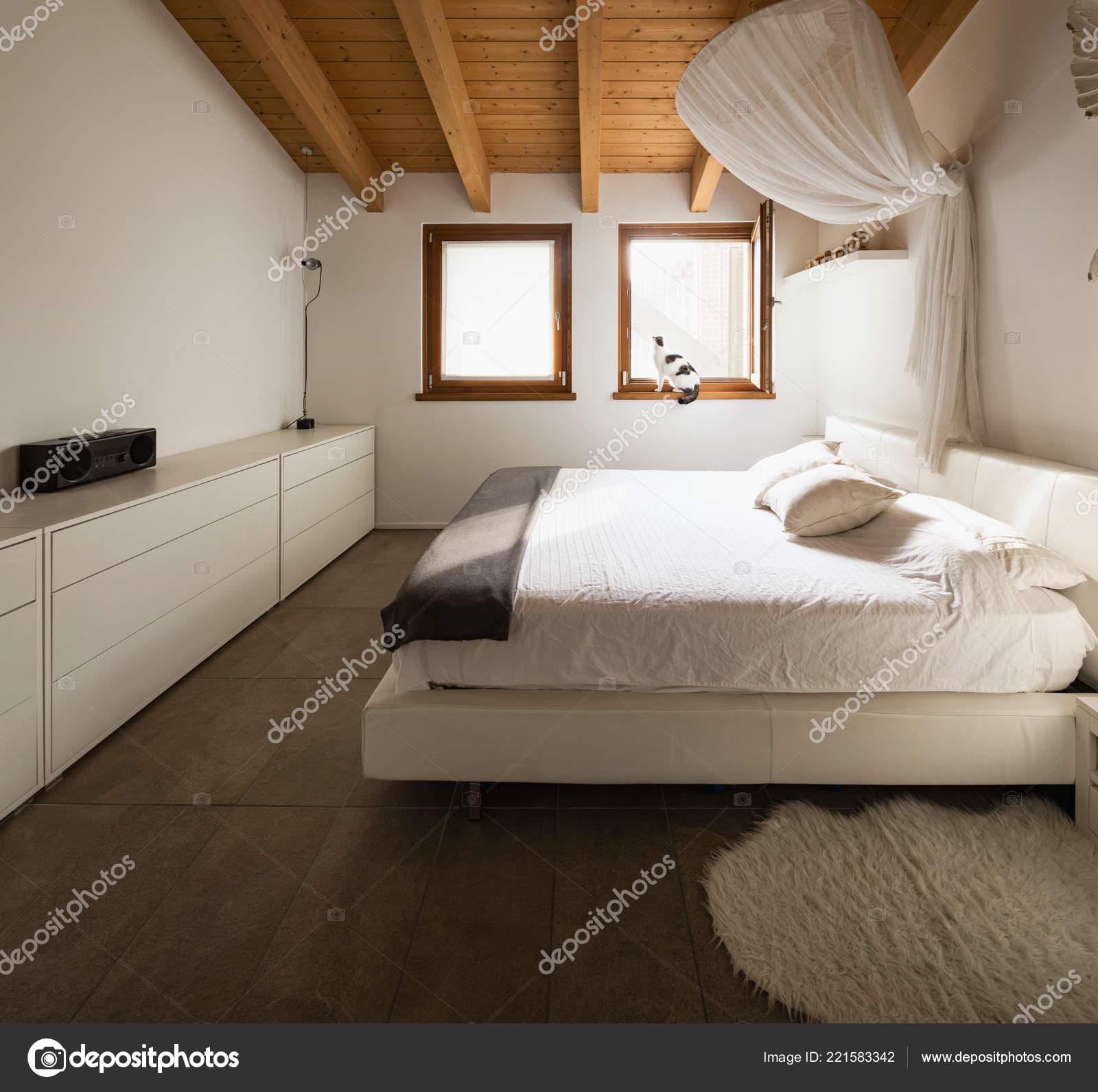 Bedroom Wooden Beams Nobody Stock Photo Image By C Zveiger 221583342