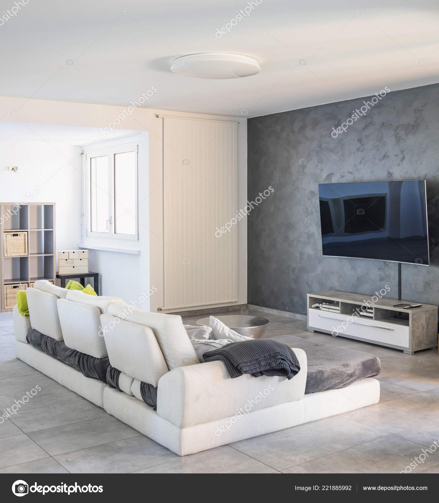 Modernes Wohnzimmer Mit Hellen Sofa Niemand Inneren U2014 Stockfoto