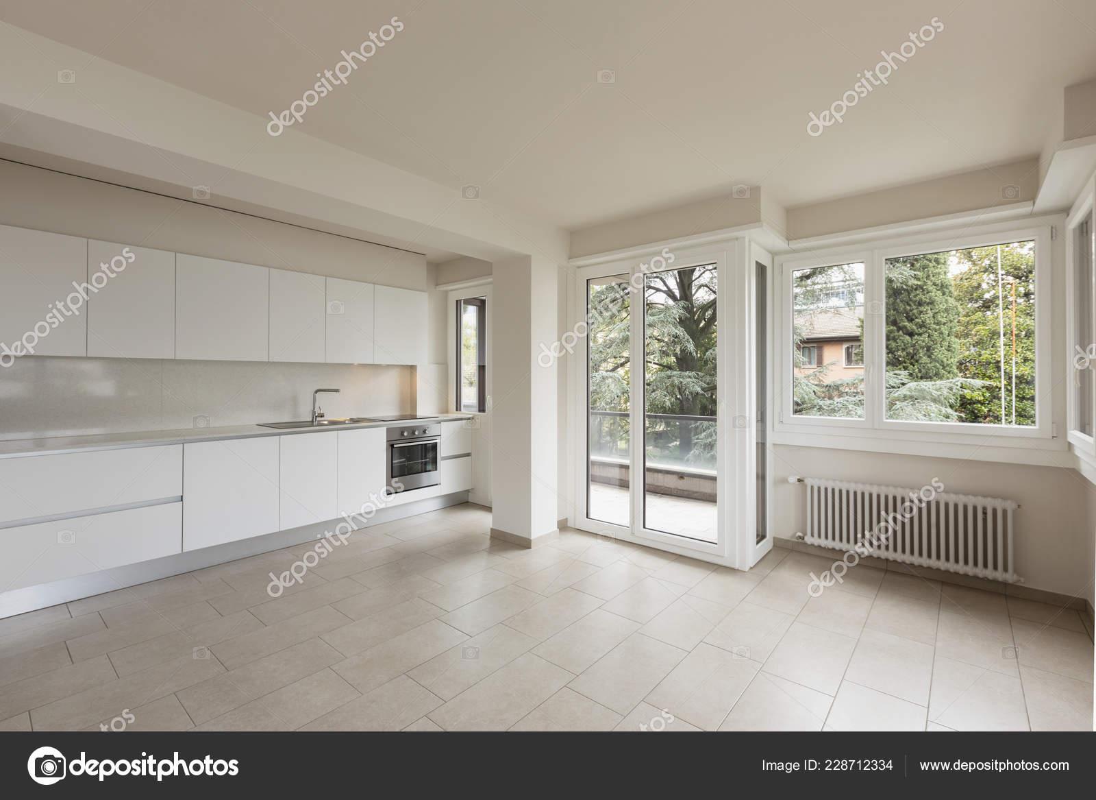 Cucina Open Space Moderna open space large windows modern kitchen nobody — stock photo