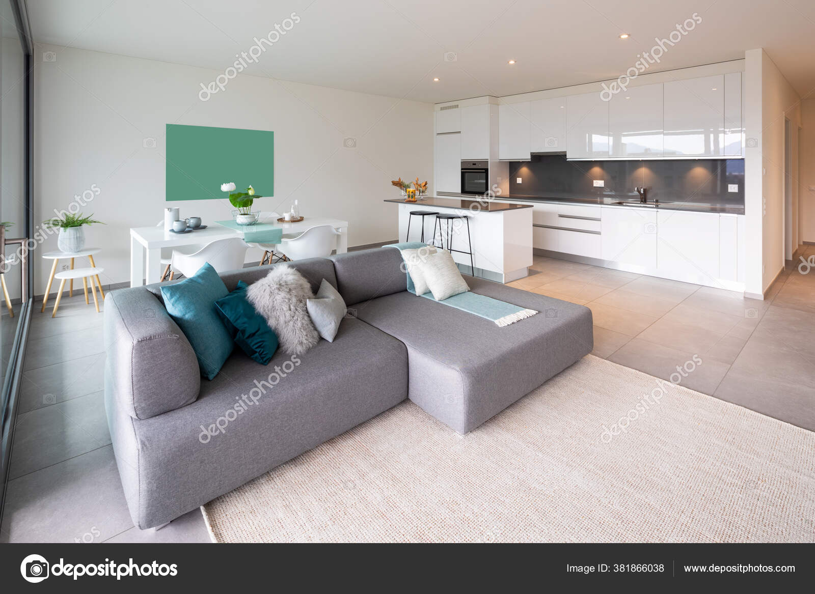 Interior Kitchen Open Living Room Dining Room Modern Apartment Nobody Stock Photo Image By Zveiger 381866038
