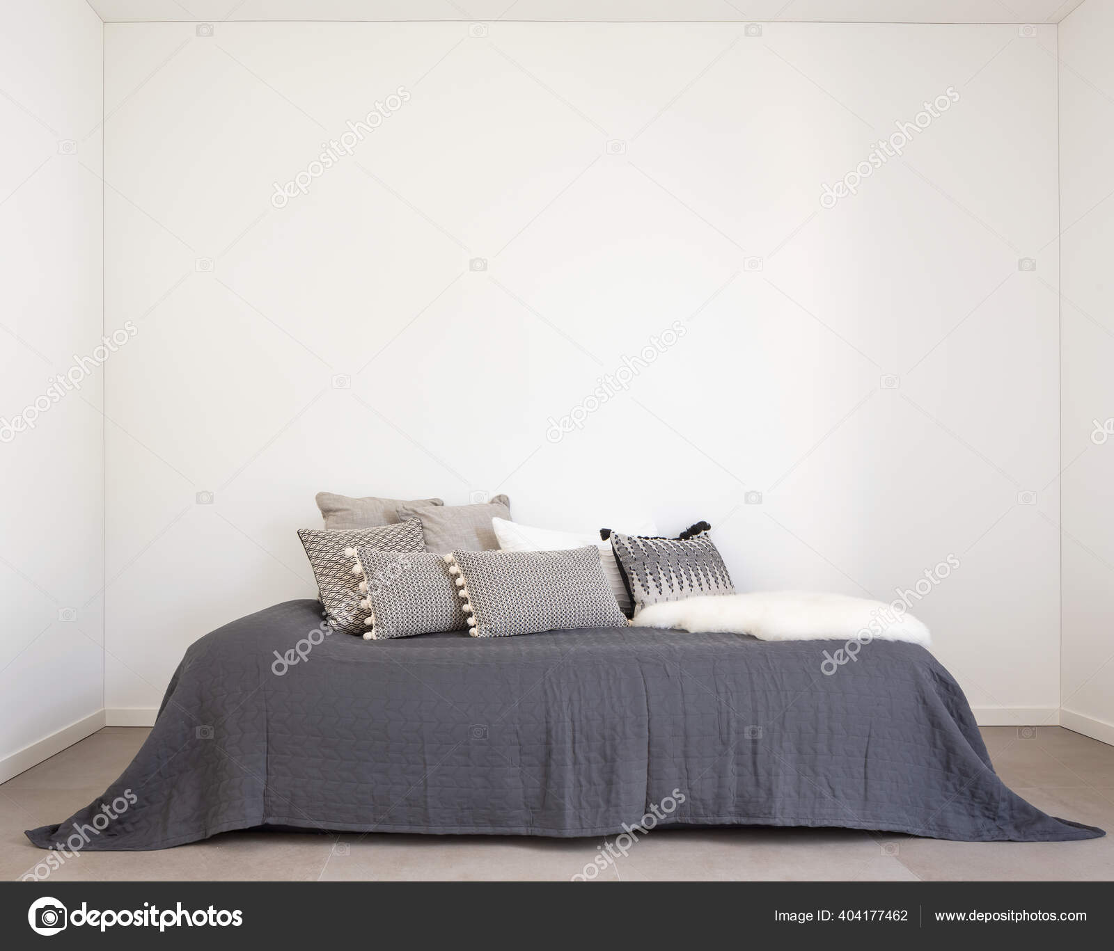 Nice Bedroom Bed Lots Pillows Detail Bed Large White Wall Stock Photo C Zveiger 404177462