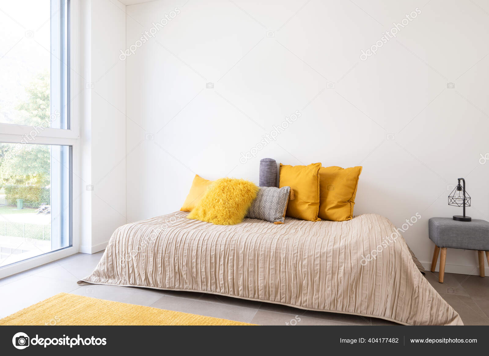 Nice Bedroom Bed Sidetable Lots Pillows Detail Bed Large White Stock Photo C Zveiger 404177482