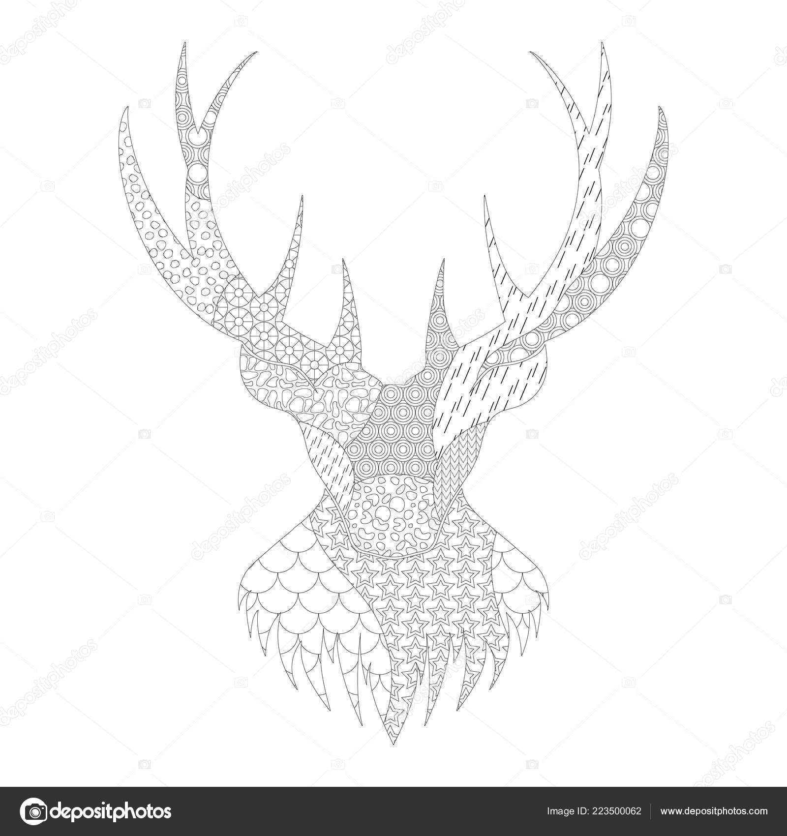 Silhouette Noir Blanc Avec Motif Colorier Tête Cerf Aux