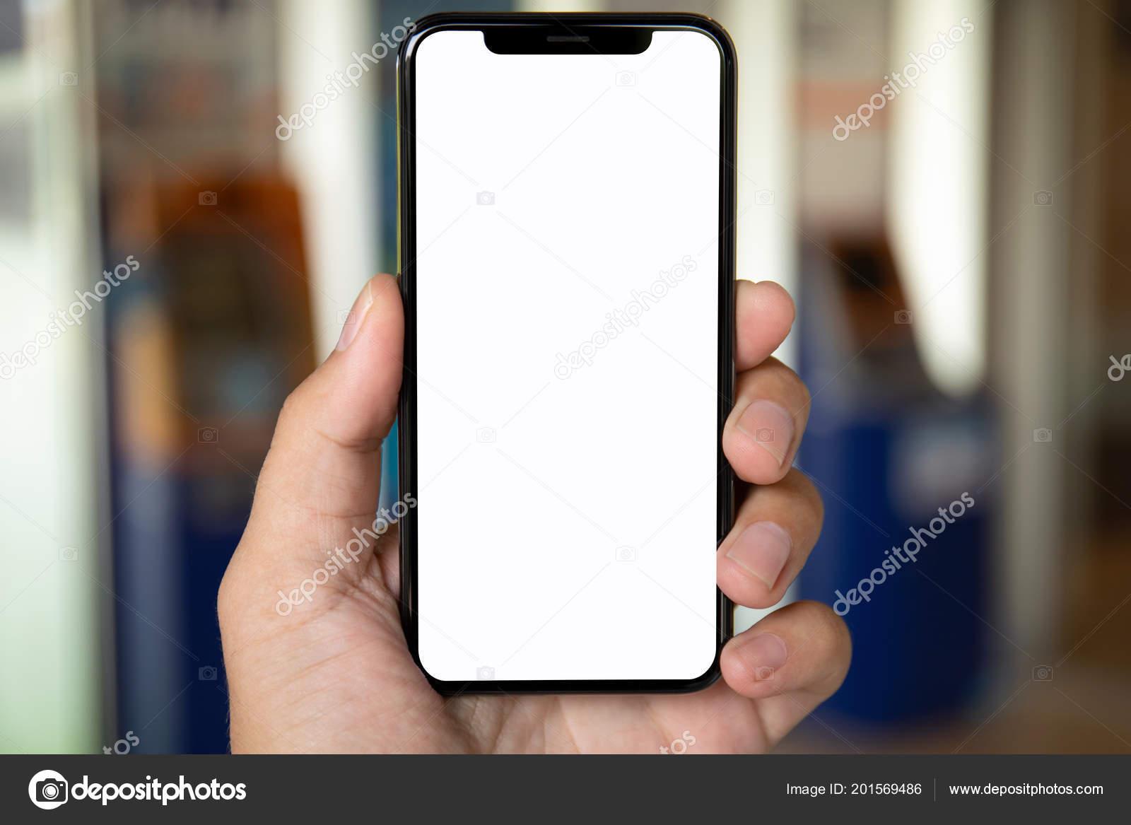 Mano Dell Uomo Che Tiene Telefono Con Schermo Isolato Sfondo Foto