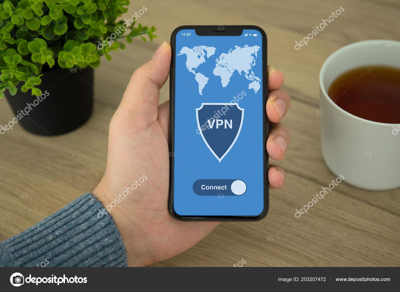 Male Hand Holding Phone App Vpn Creation Internet Protocols