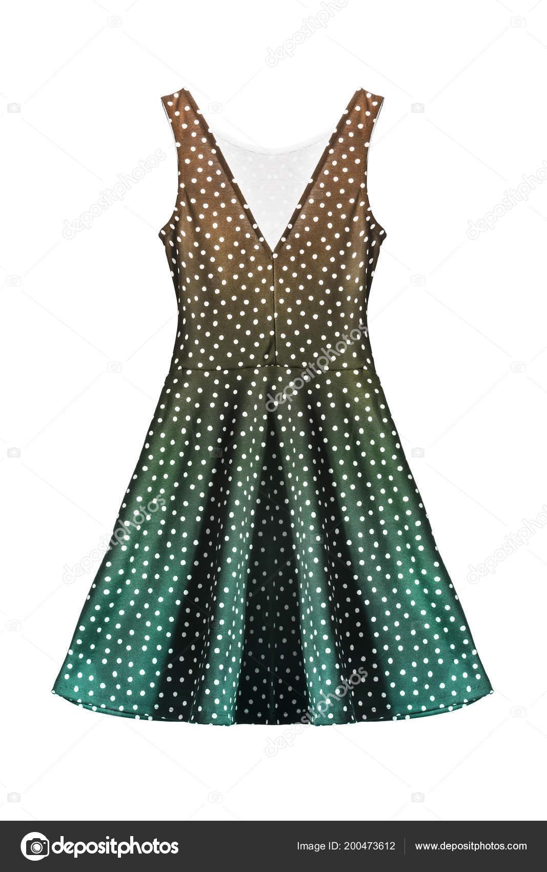 3ab13db432f Πουά Ρετρό Πολύχρωμο Αμάνικο Φόρεμα Απομονωθεί Λευκό — Φωτογραφία Αρχείου