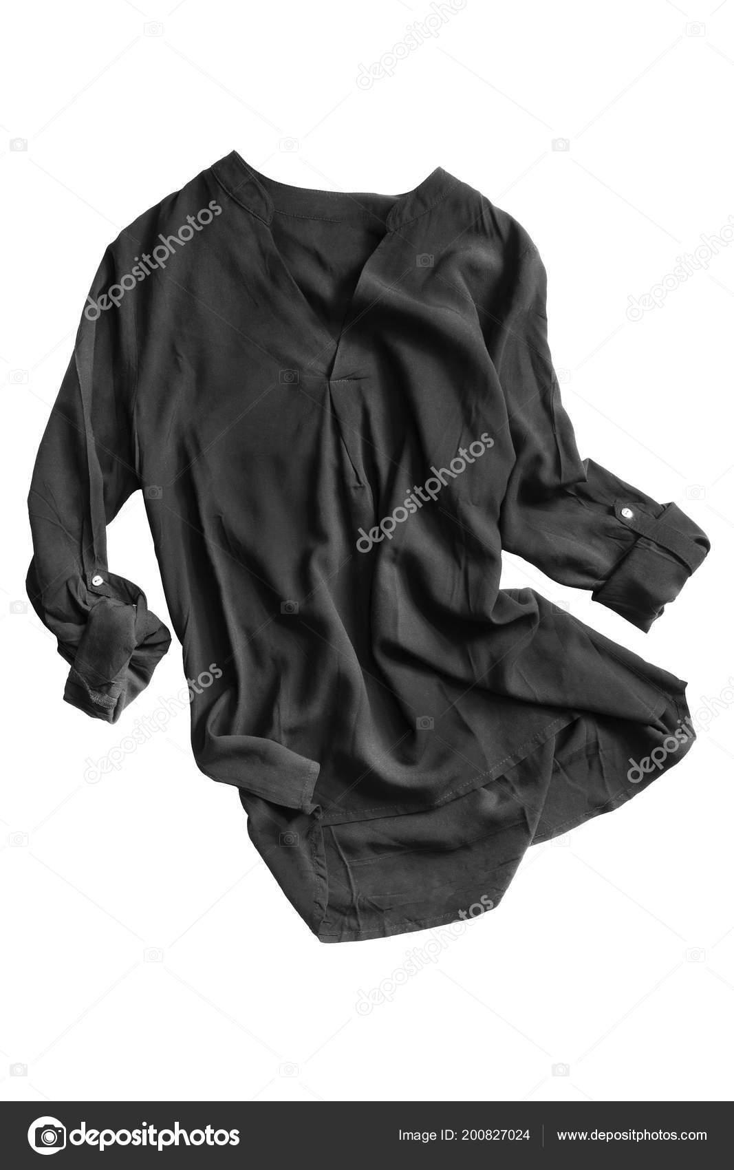 c0f4220ade Blusa de seda negro arrugado manga enrollada sobre fondo blanco– Imagen de  Archivo