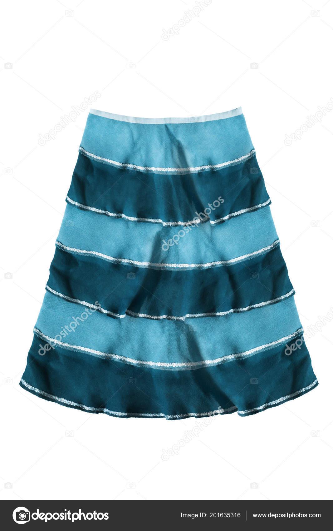 5fa9f9157daacc Blauwe gestreepte uitlopende rok op witte achtergrond — Foto van ...