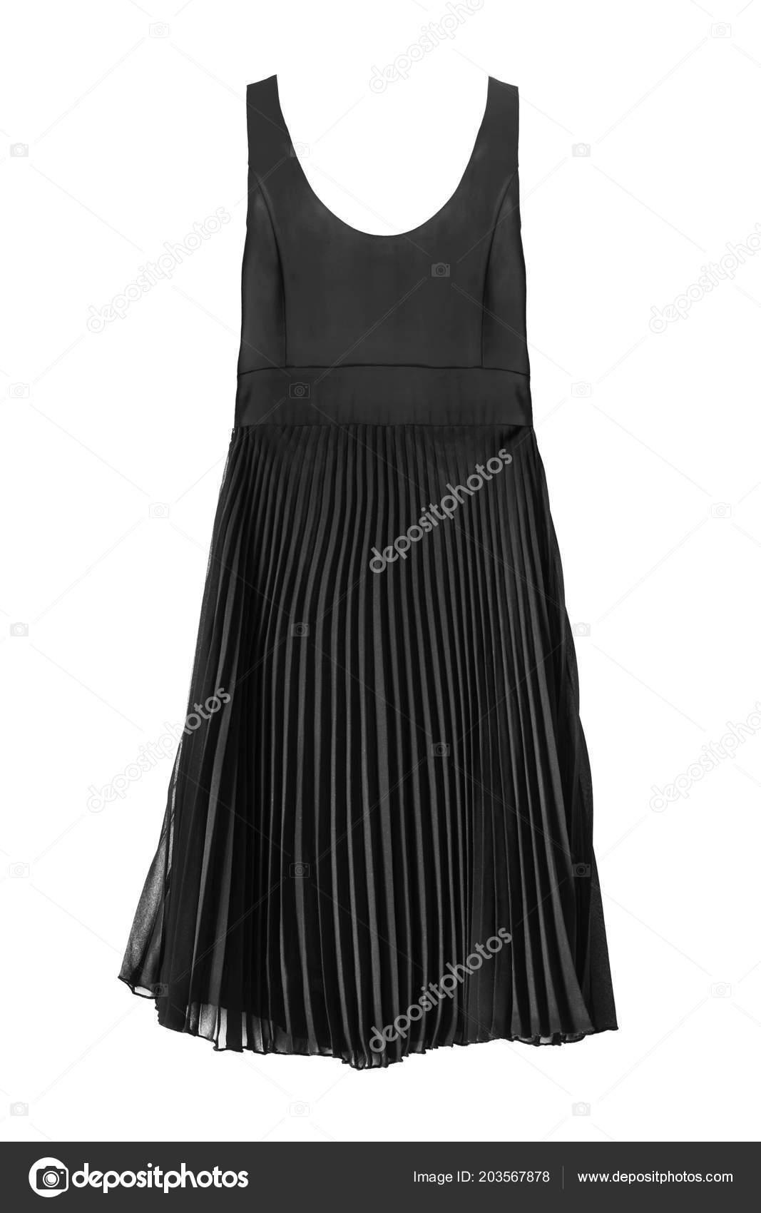8a2d15808c Elegant Black Dress Chiffon Pleated Skirt White Background — Stock Photo