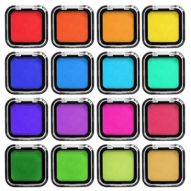 Set of colorful mat eyeshadows in plastic boxes isolated over white