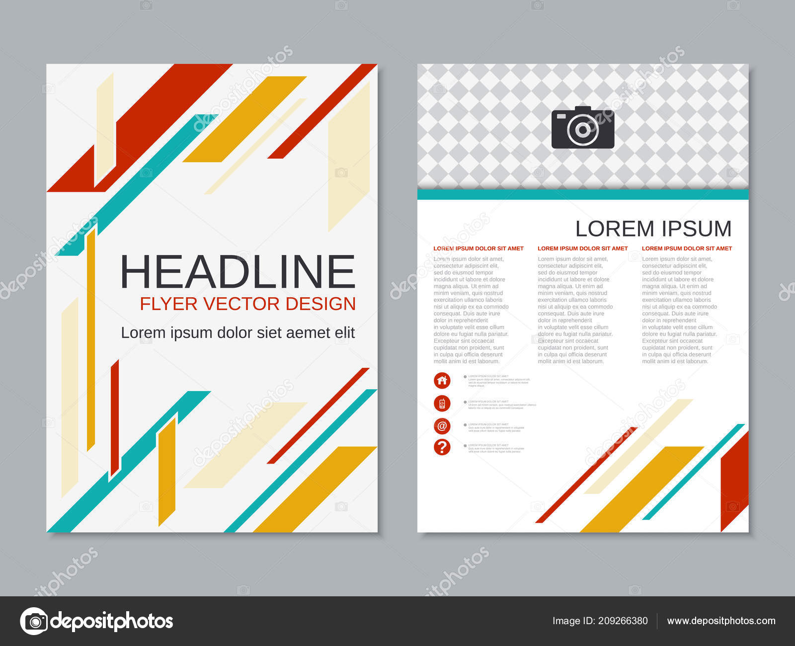 abstract geometric style professional two sided flyer vector design