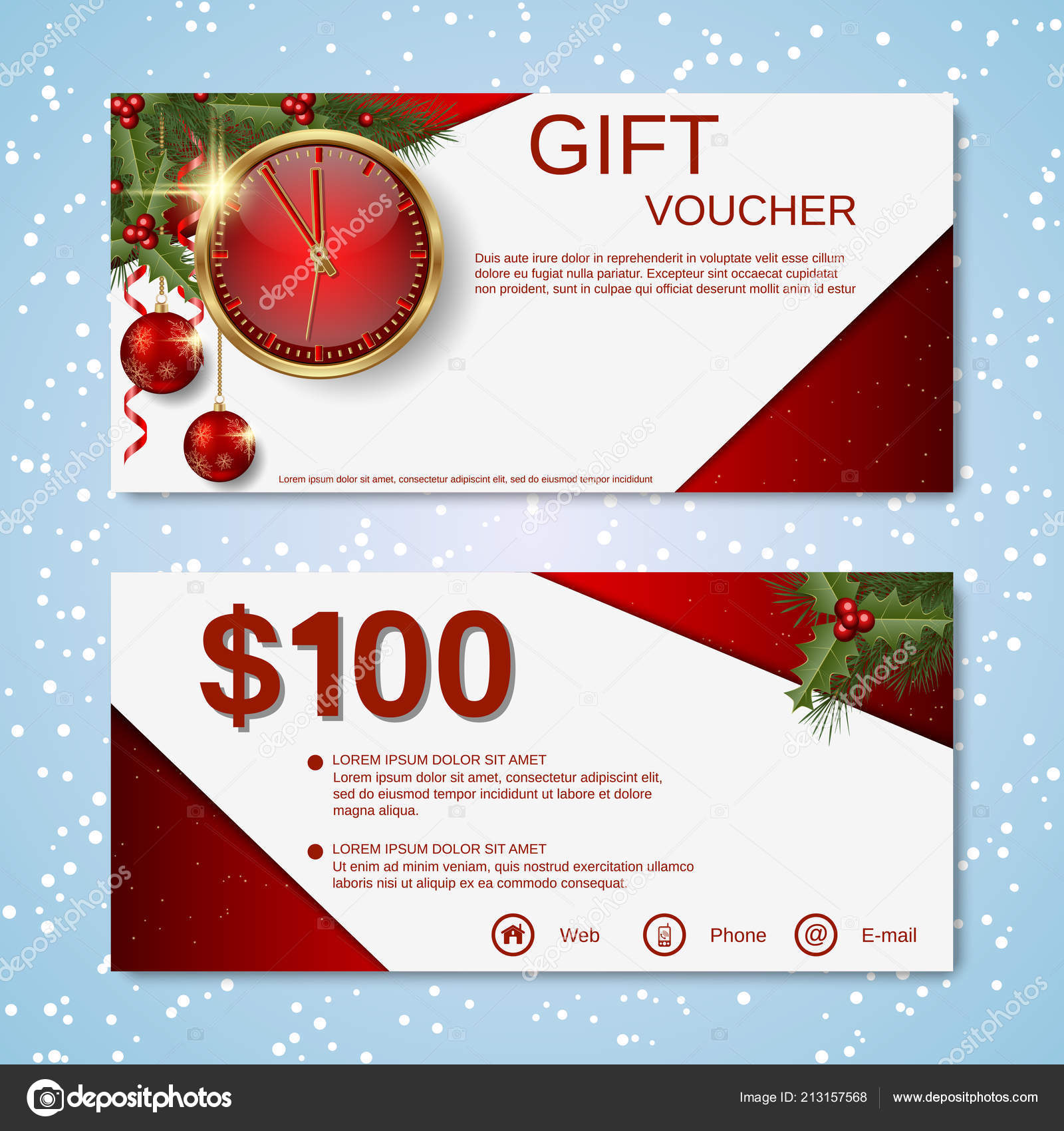 christmas new year discount coupon gift voucher vector template