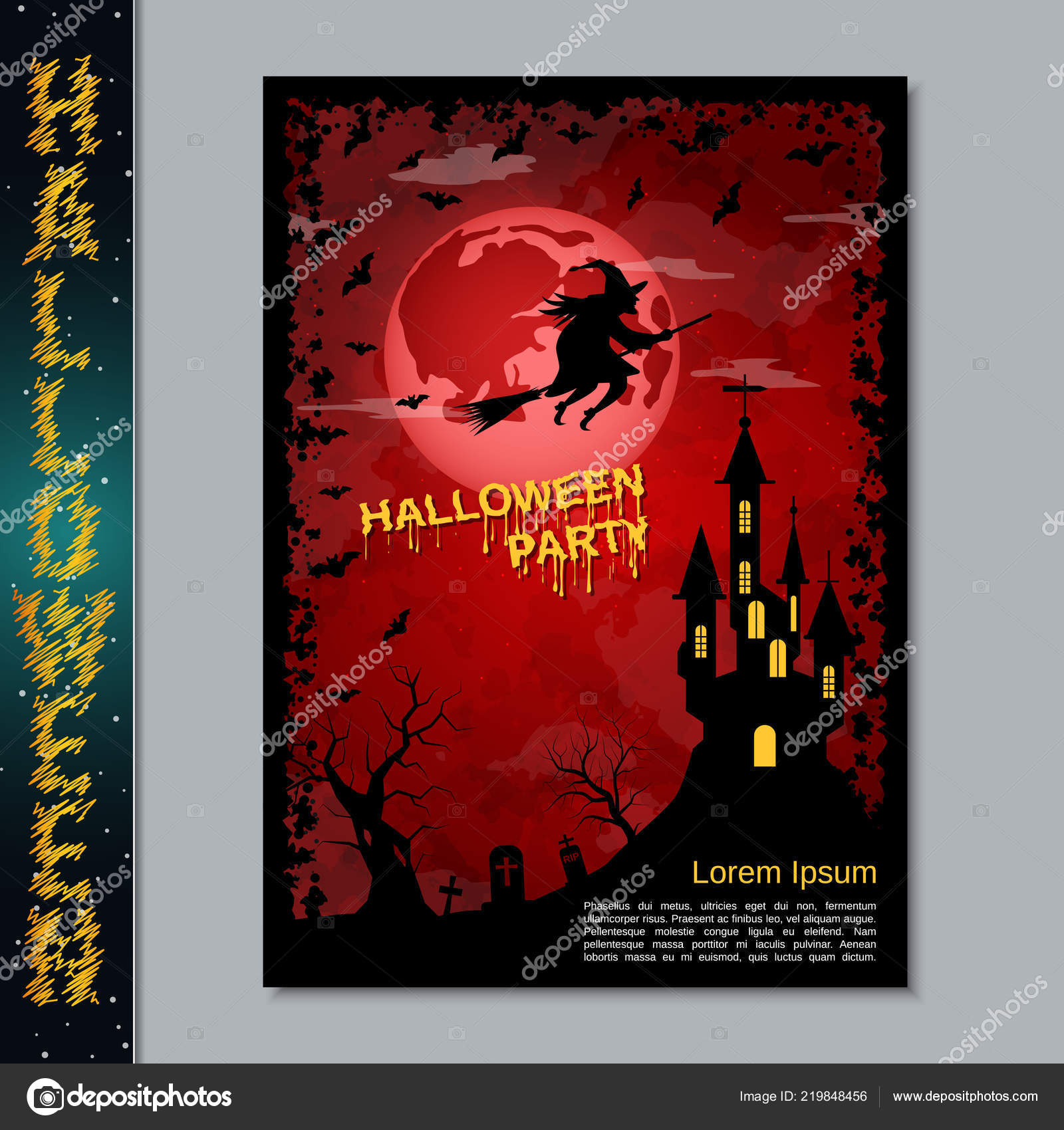 Aviador Noche Halloween Folleto Afiche Plantilla Diseño