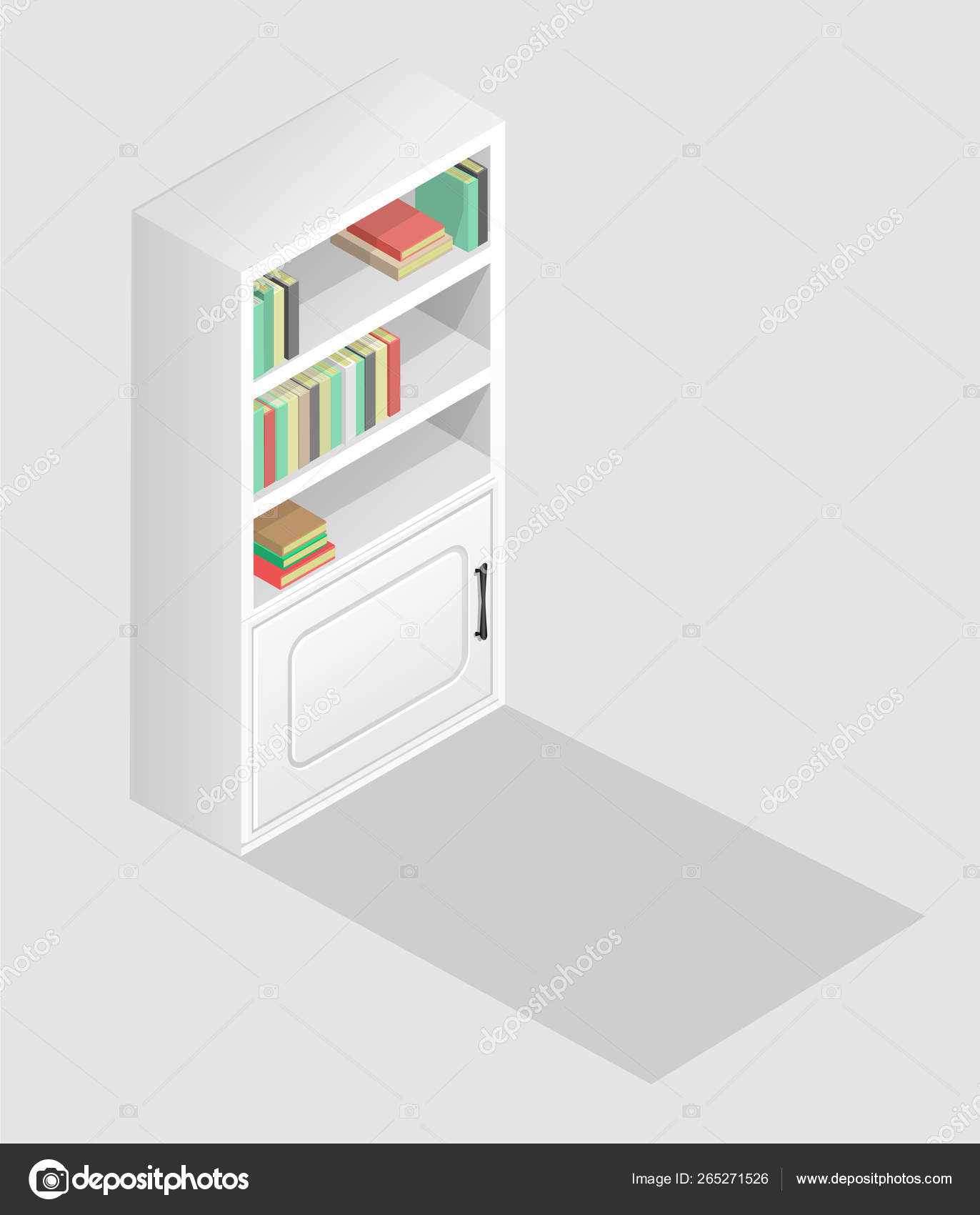 White Bookcase Isometric Style Books Shelf Wardrobe Library