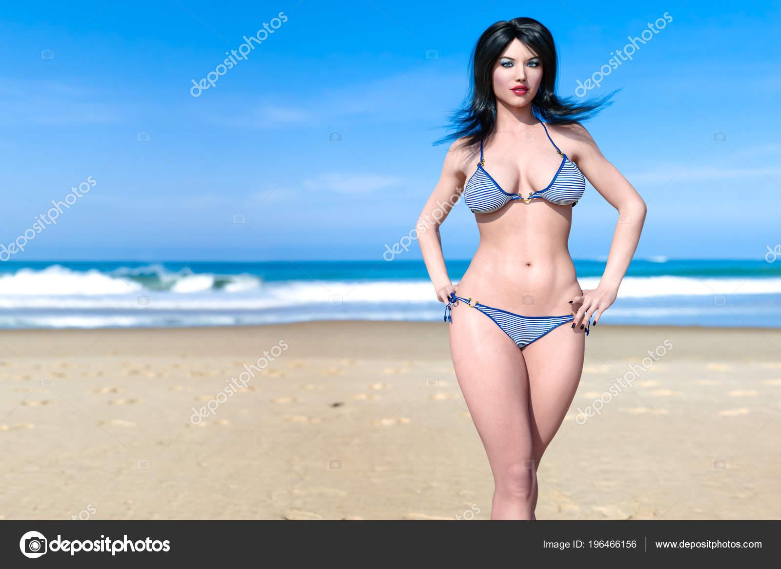 0935d1da3a Blue ocean background. Sunny day. Conceptual fashion art. Seductive candid  pose. Realistic render illustration.– stock image. Beautiful Woman Swimsuit  ...