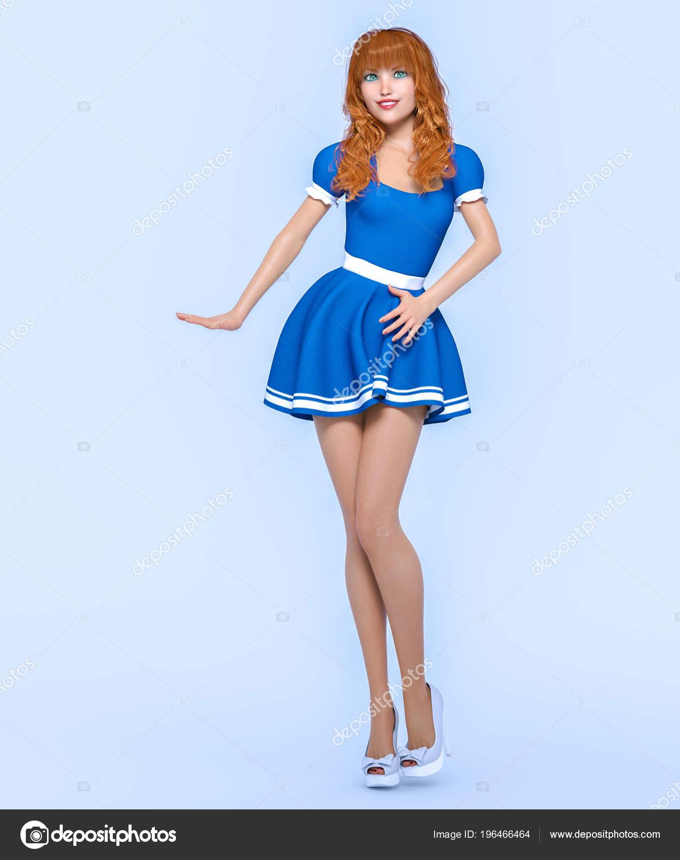 Vestido de la hermosa joven atractivo azul 3D. Fotografía de estudio de  mujer. Tacón alto. Arte conceptual de moda. Seductora pose Cándido. b7150b240d88