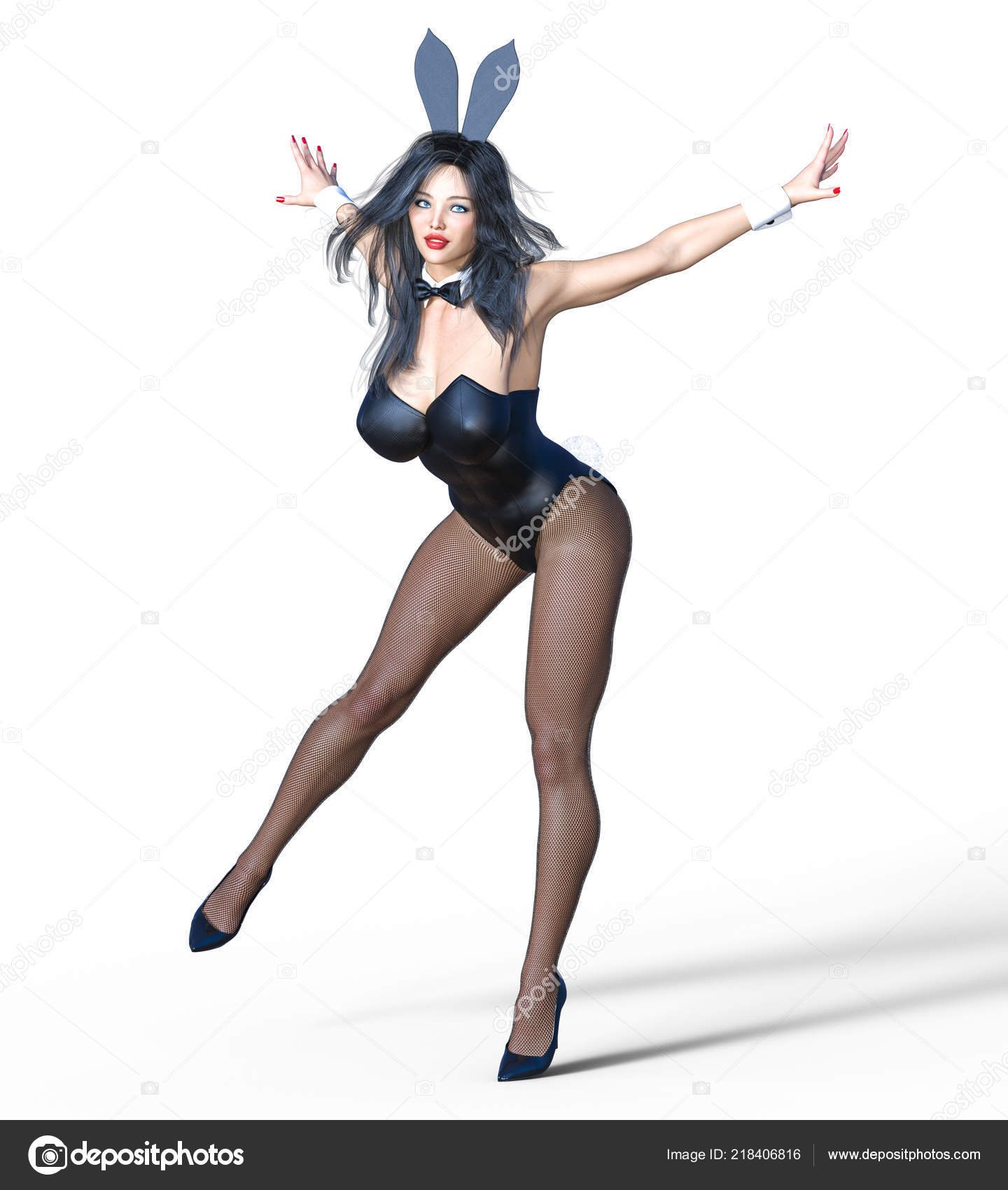 Bunny Girl Sexy Woman Long Legs Black Fishnet Tights Black — Stock ...