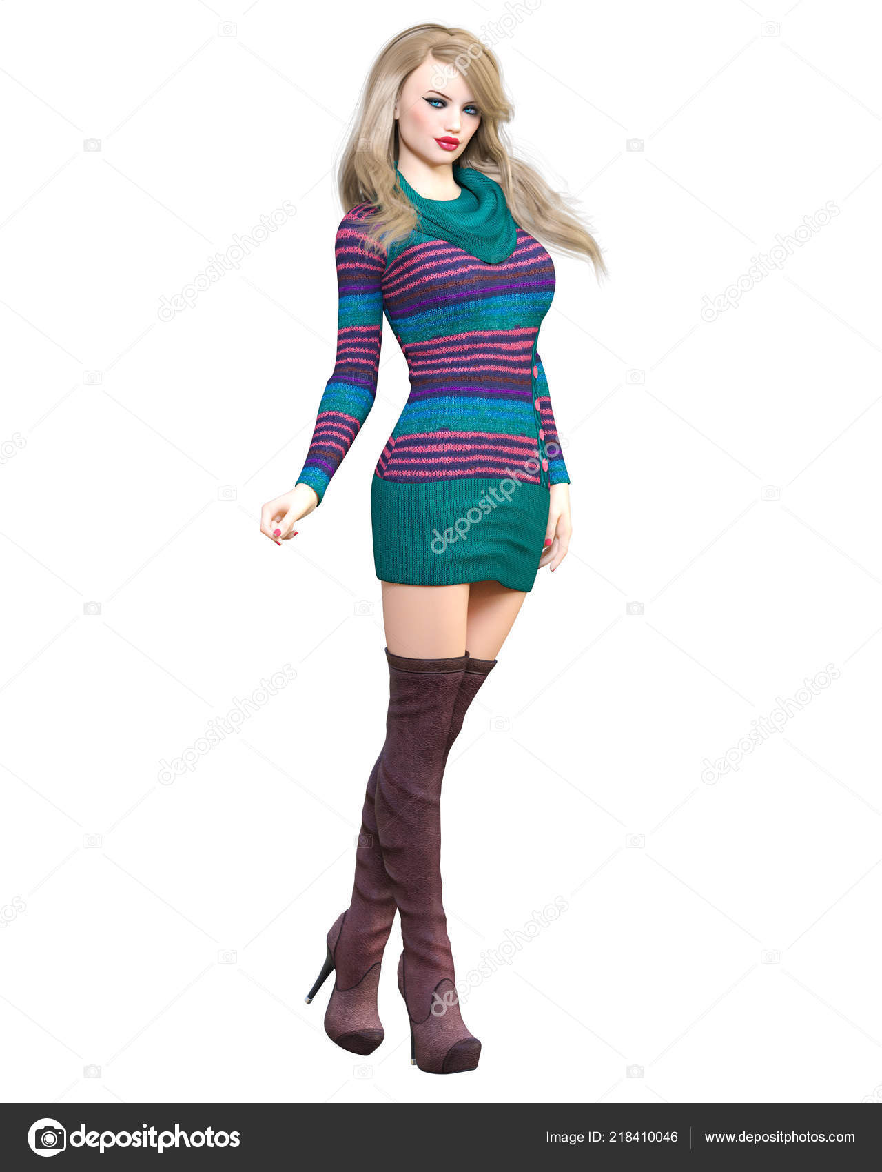 3c54e1cc6d8 3D schöne blonde kurze gestrickte Tunika Kleid lange Stiefel. Frühling-Herbst-Kollektion  Kleider. Helles Make-up. Frau Studiofotografie.