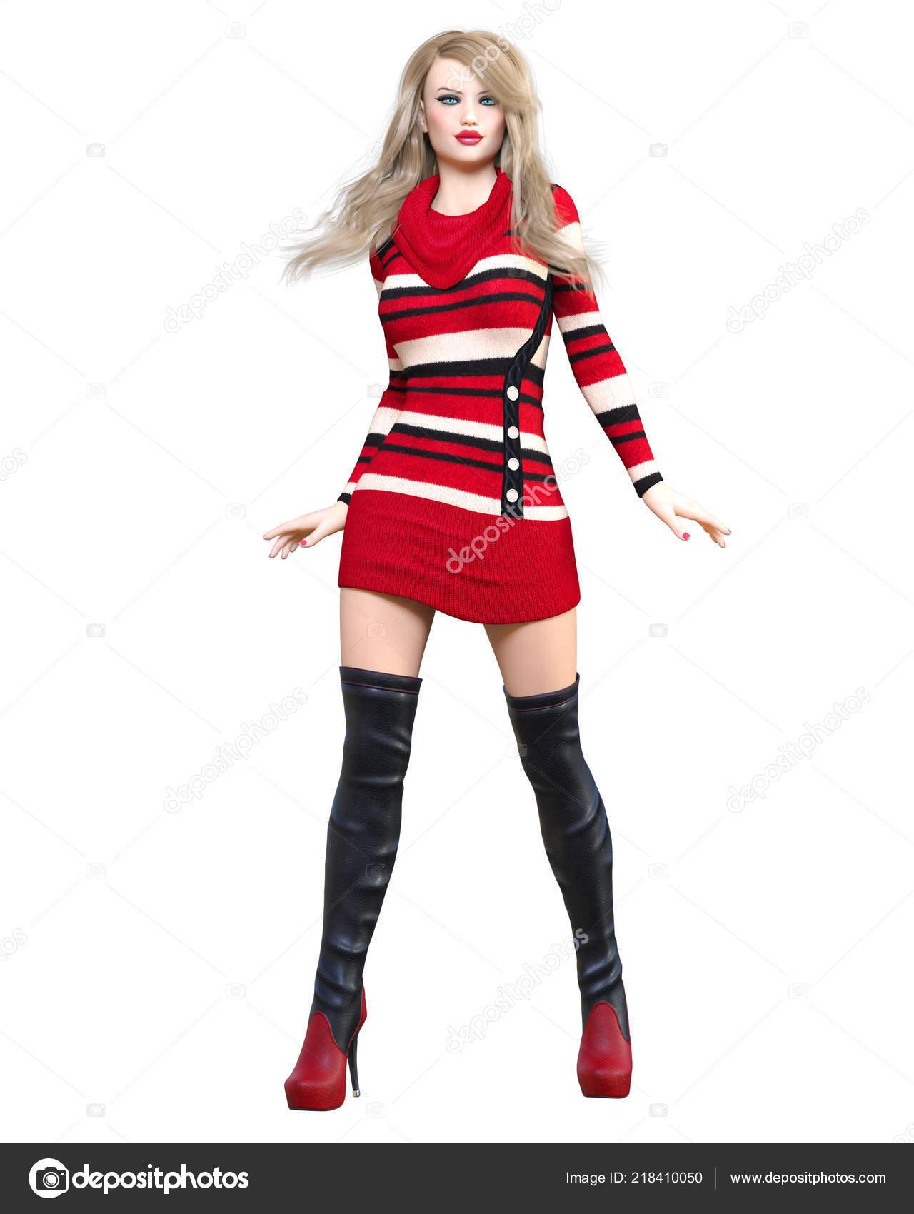b271e87384 3D vestido túnica punto corta rubia hermosa botas largas. Ropa de la  colección de primavera-otoño. Maquillaje brillante. Fotografía de estudio  de mujer.
