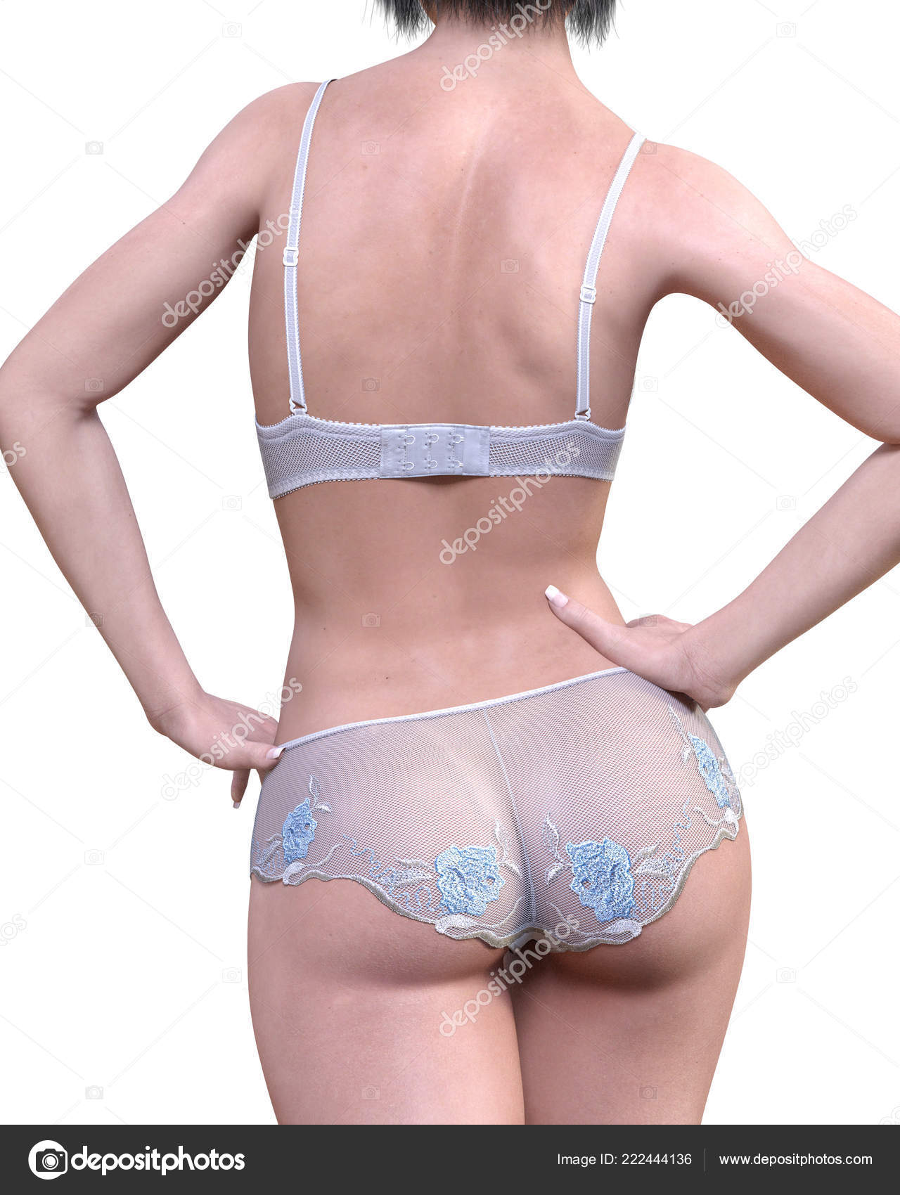 fa86163d579f9 Girl White Lacy Underwear Transparent Panties Bra Extravagant Fashion Art —  Stock Photo