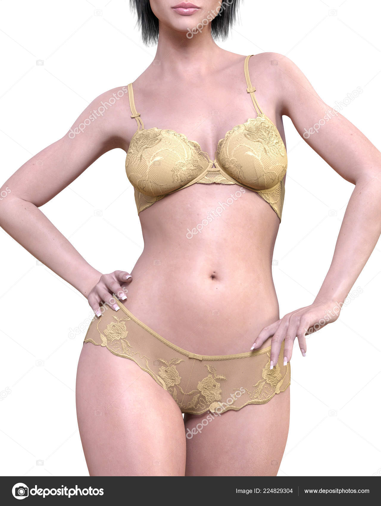 66f688f79f8 Jeune fille en sous-vêtements de dentelle. Culotte transparente et  soutien-gorge. Art de la mode extravagante. Femme debout candid  provocatrice pose sexy.