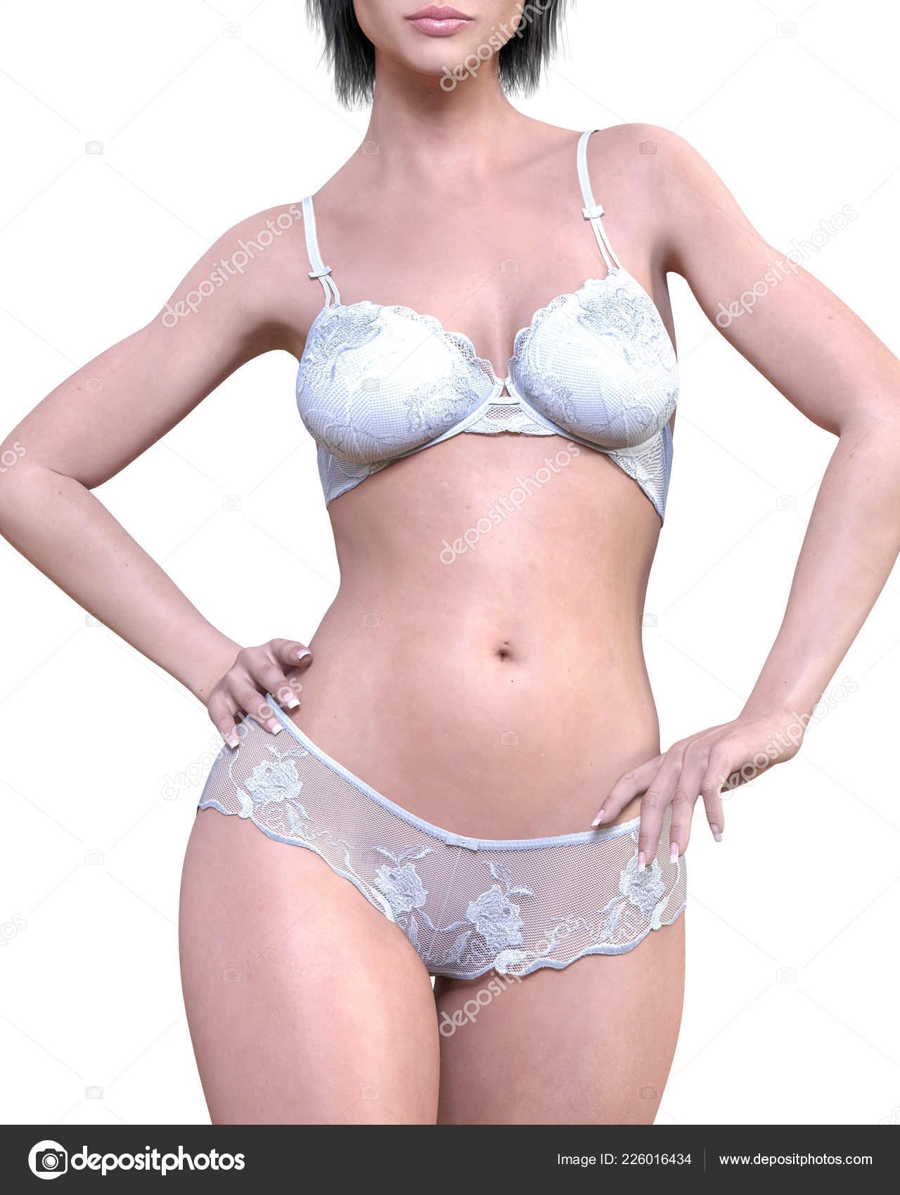 08b657503 Garota em branca Landim cueca. Transparente calcinha e sutiã. Arte moda  extravagante. Mulher em pé franco provocante pose sexy.