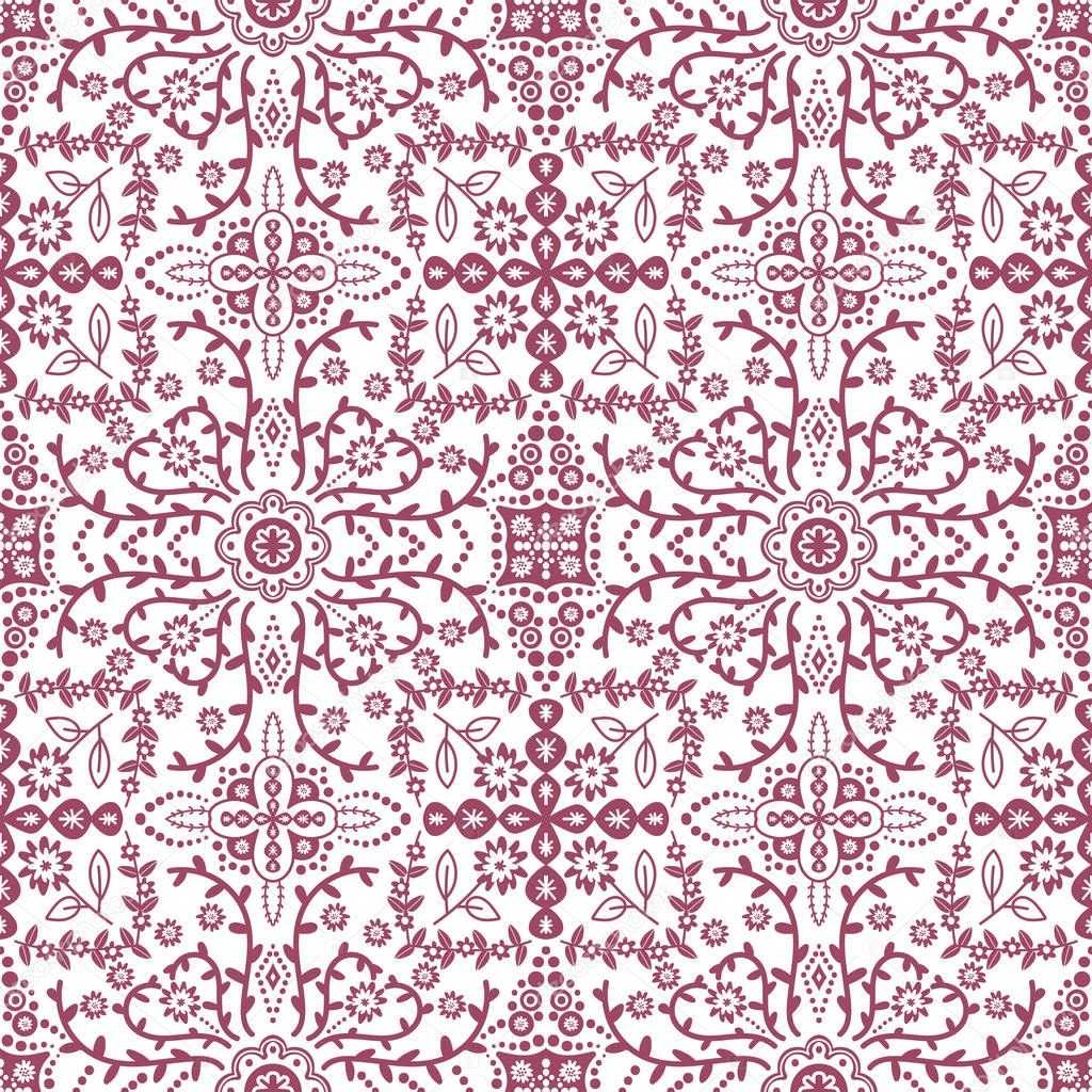 Vectorseamless pattern with stylised flowers Ornate seamless pattern background
