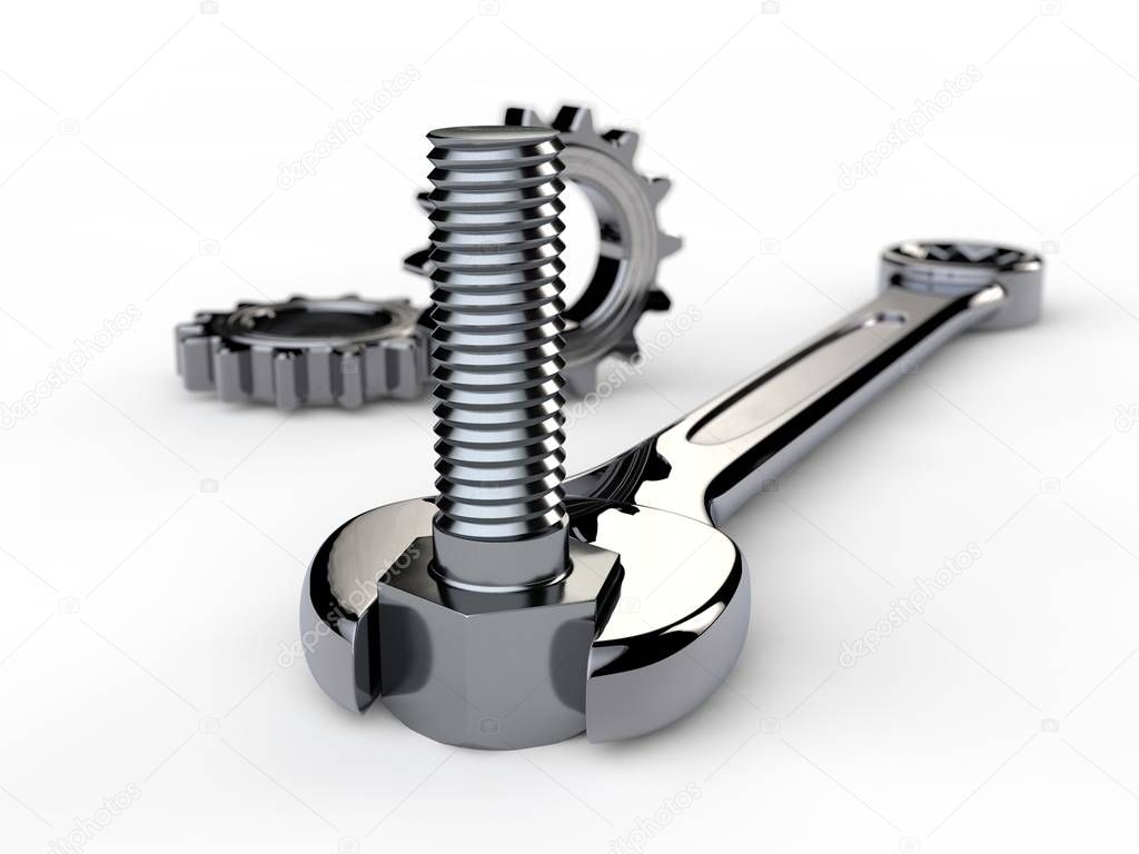 Image, illustration of spanner with gears, gear reducer and bolt on white isolated background. The key of stainless steel, shiny chrome plated. 3D rendering. Depth of field, blurred image.
