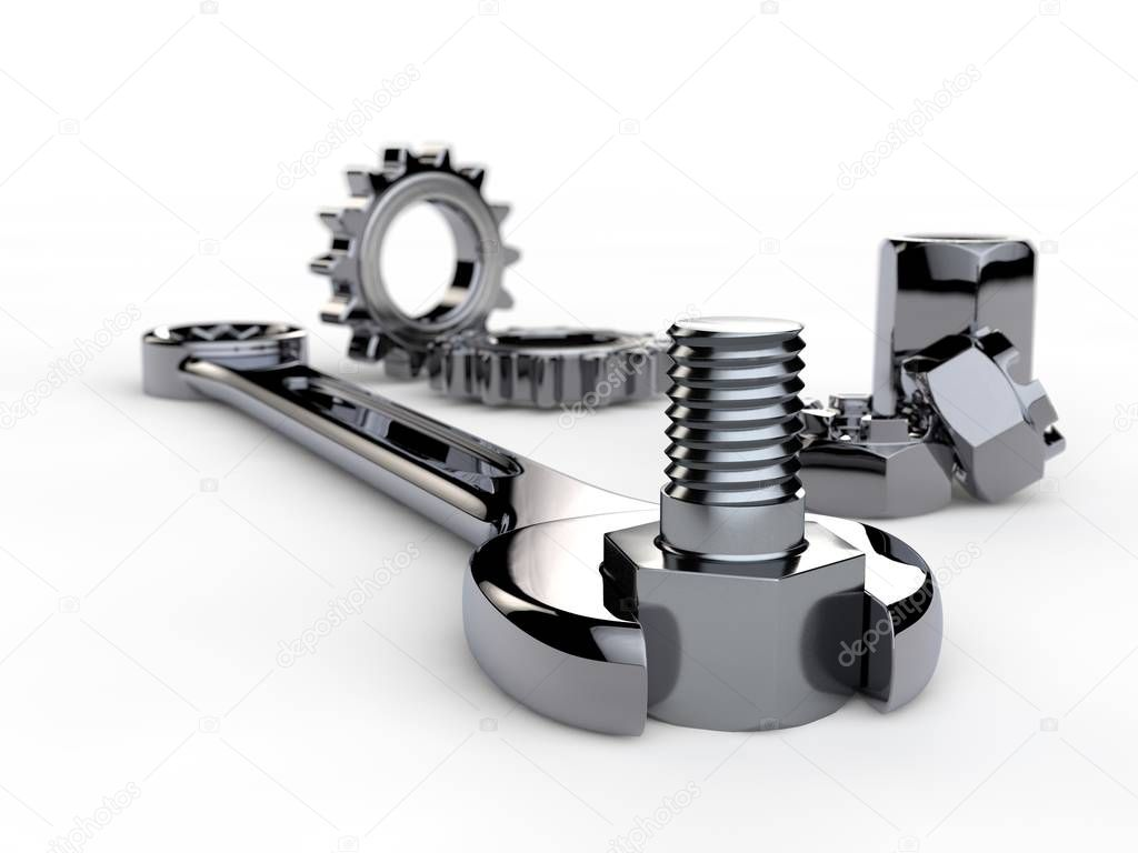 Image, illustration of spanner with gears, reducer, nuts and bolt on white isolated background. The key of stainless steel, shiny chrome plated. 3D rendering. Depth of field, blurred image.