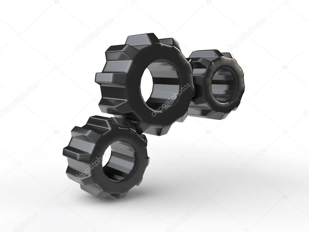 Gear image, three black, plastic, isolated on white background. The idea of the mechanism, the device in the transmission Illustration. 3D rendering