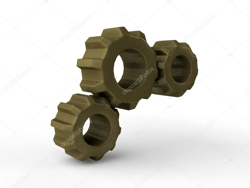 Gear image, three bronze, gold gears isolated on white background. The idea of the mechanism, the device in the transmission Illustration. 3D rendering
