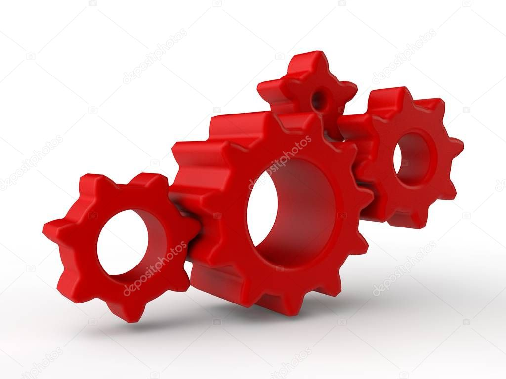 Gear image, four red plastic gears isolated on white background. The idea of the mechanism, the device in the transmission Illustration. 3D rendering