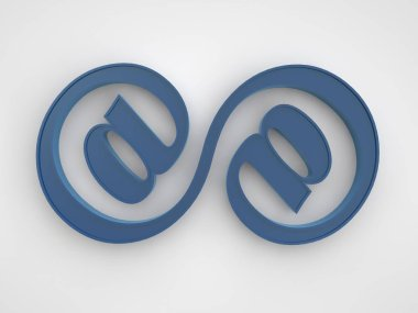 the image of a blue infinity sign consisting of two connected signs email symbol Internet on white background. 3D rendering.