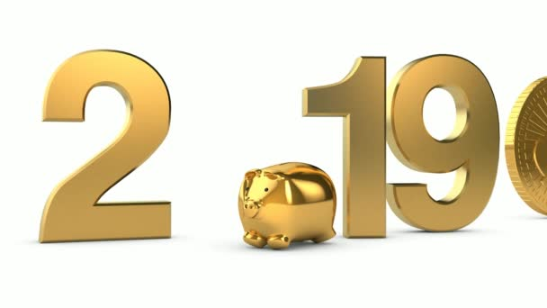 date 2019, for calendar, with gold dollar, 3D animation.