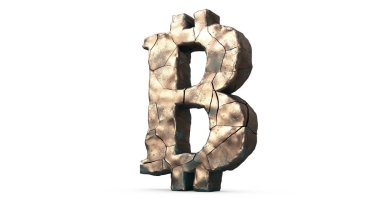 3D illustration of the destroyed symbol of bitcoin, bursting with lots of cracks. The idea of the collapse of cryptocurrencies, bitcoin, the price falls. 3D rendering isolated on white background.