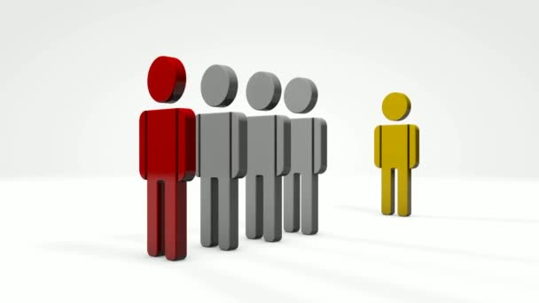 3D animation of a number of people who fall from the push of the red man. The yellow man didnt fall. Safe distance.