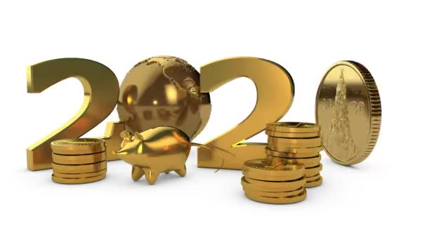 3D animation of the rotating Golden planet Earth and Golden numbers 2020 new year with a gold piggy Bank in the form of a mouse.