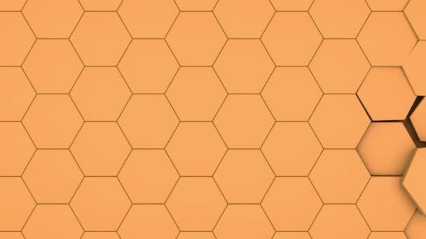 3D-Animation eines gelben Hintergrundes von Sechsecken, die die Größe ändern und die Struktur wieder herstellen. Nahtlose Animation mit der Möglichkeit der kontinuierlichen Wiedergabe.