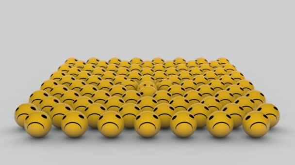 3D animation of many emoticons with a grimace of discontent and one appears with a smile. Yellow balls on a white background.