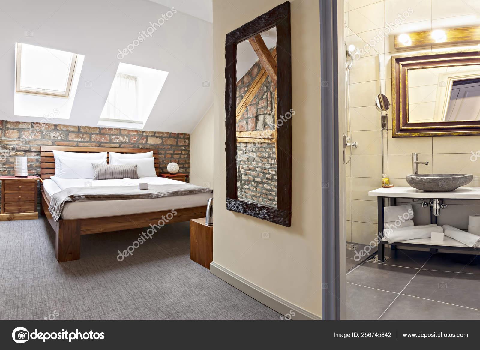 Luxurious Modern Loft Bedroom Interior With Twin Bed Stock Photo C Miriristic Gmail Com 256745842