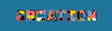 The word CREATION concept written in colorful abstract typography. Vector EPS 10 available.