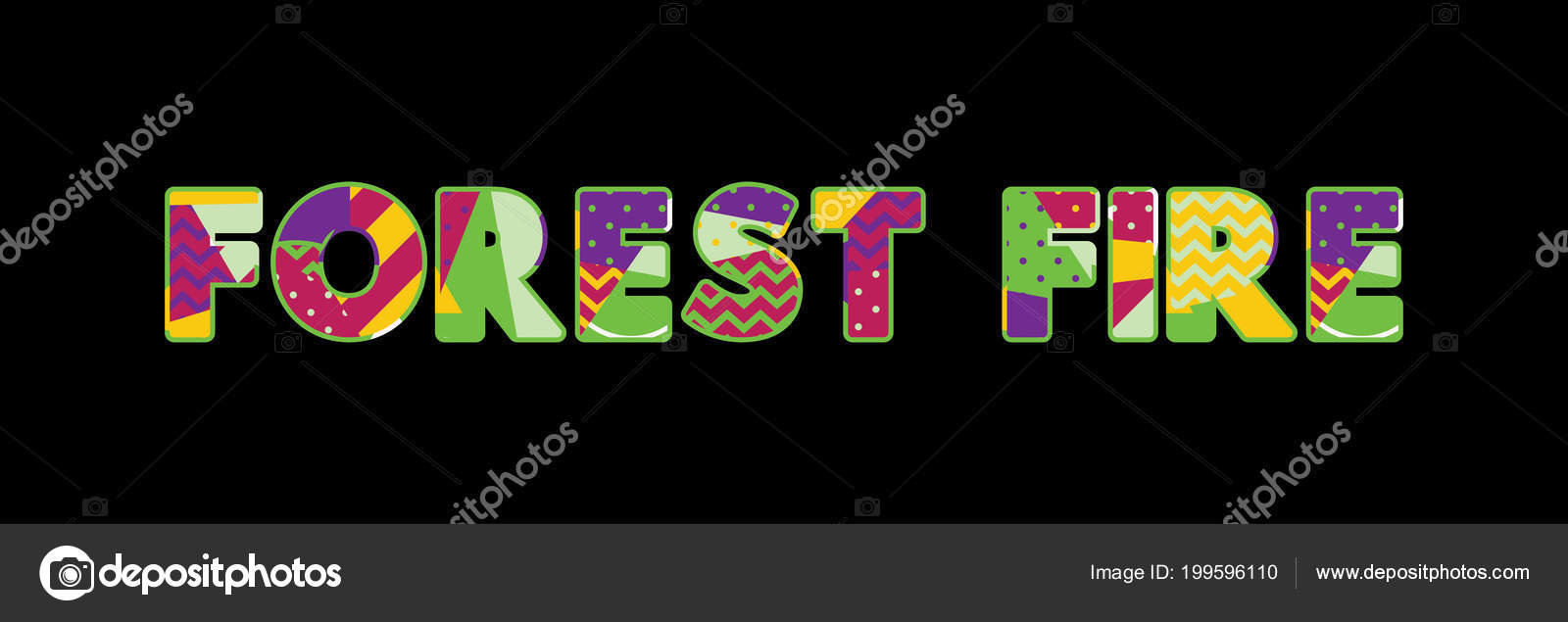 Word Forest Fire Concept Written Colorful Abstract