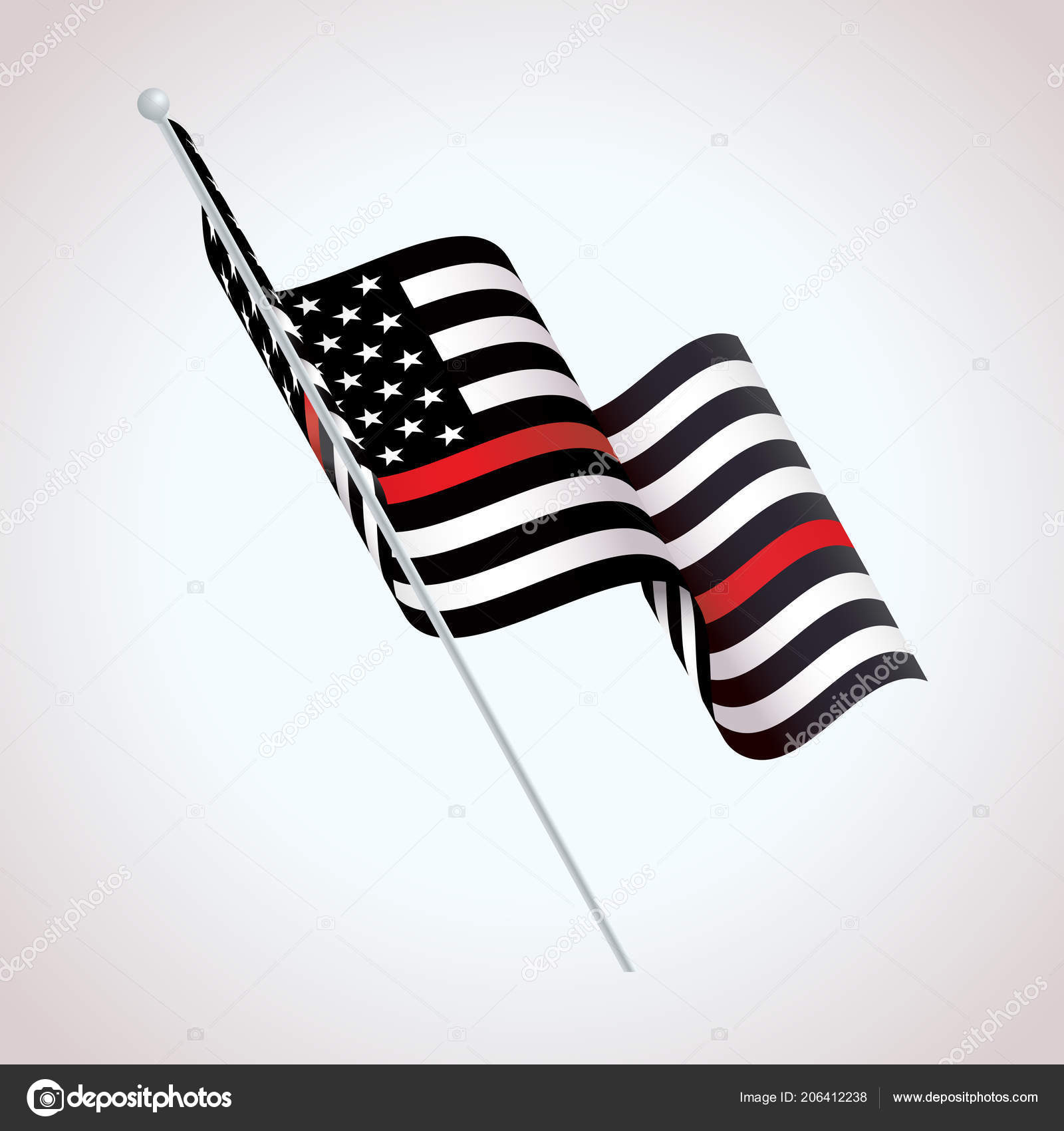 Black White Red Striped American Flag Firefighter Support Symbol