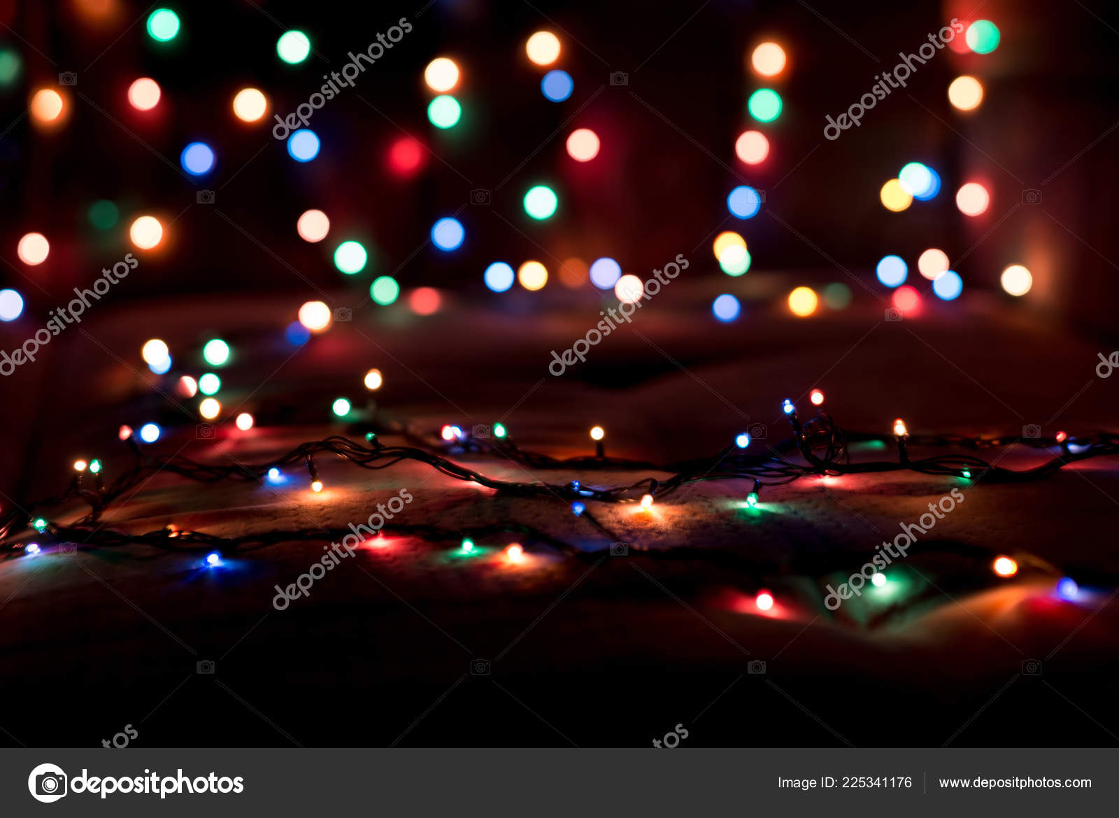 Colorful Christmas Lights Background.Colorful Christmas Lights Blurred Background Stock Photo